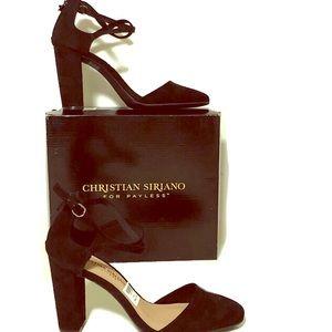 """Christian Siriano black closed.toe.strappy 3""""heels"""